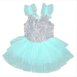 silver and teal sparkly dress
